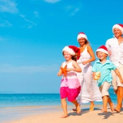Family beach christmas